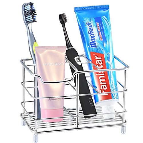 X-Large Toothbrush Holder,Famistar 6 Slots Stainless Steel Bathroom Multi-functional Storage Stand for Electric Toothbrush,Toothpaste,Cleanser,Comb