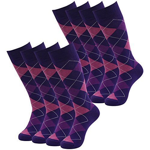 SUTTOS Men's Custom Elite Casual Fun Purple Argyle Jacquard Plaid Cotton Knit Mid Calf Crew Dress Socks,8 Pairs