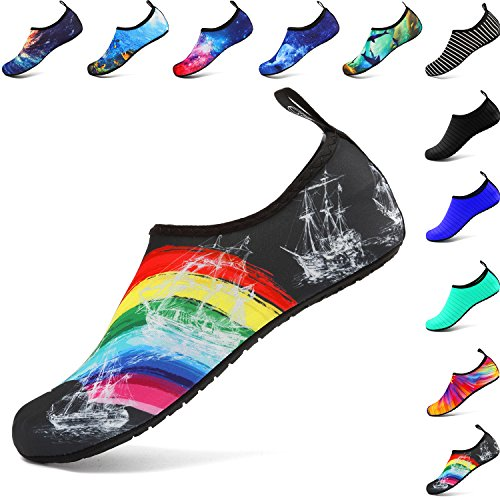 welltree Mens Womens Water Shoes Quick Dry Sports Aqua Shoes Unisex Breathable Swim Shoes,for Dance,Swim,Walking,Yoga,Lake,Beach,Garden,Park,Driving,Boating Rainbow