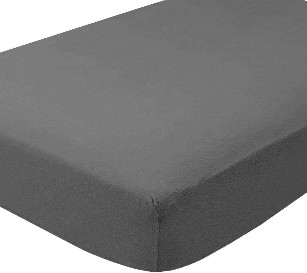 Bare Home Flannel Fitted Bottom Sheet 100% Cotton, Velvety Soft Heavyweight - Double Brushed Flannel - Deep Pocket (Twin XL, Grey)