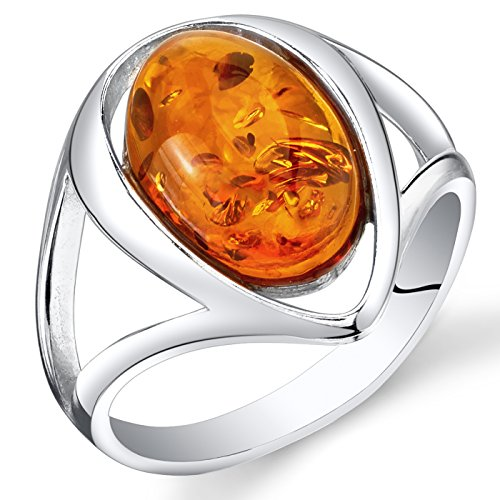Baltic Amber Ring Sterling Silver Cognac Color Oval Shape Size 8