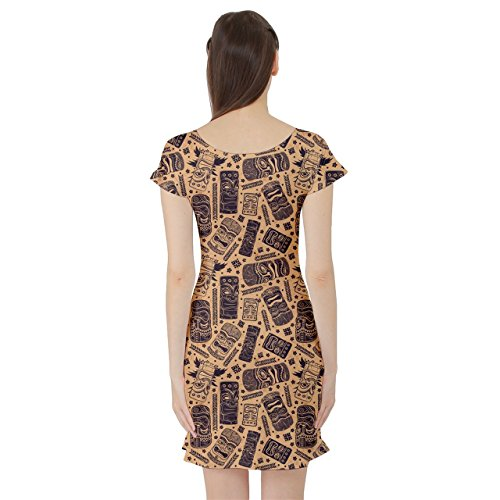 Pattern for Dress CowCow Vintage Your Brown Tiki Skater Aloha Short Sleeve Business wfwXI6q