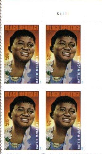 HATTIE MCDANIEL ~ BLACK HERITAGE #3996 Plate Block of 4 x 39¢ US Postage Stamps