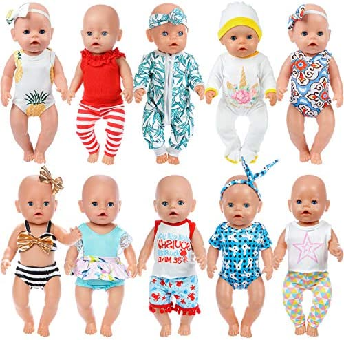 ZITA ELEMENT 10 Sets 14 - 16 Inch Baby Doll Clothes Dress Swimsuits Jumpsuits Headbands for 43cm New Born Baby Doll, 15 Inch Bitty Baby Doll and American 18 Inch Girl Doll Outfits and Accessories