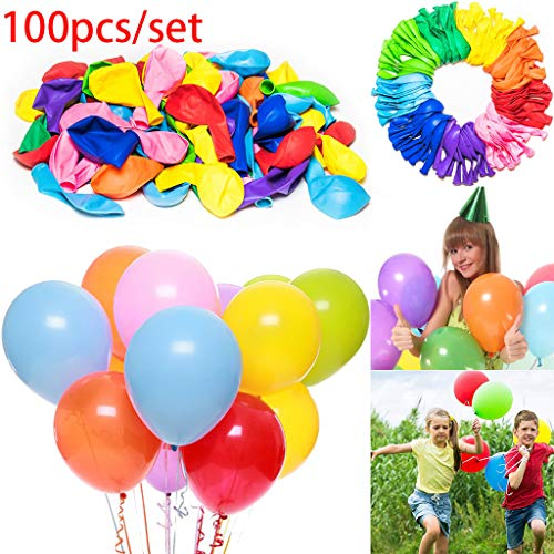 Party Balloons - 12 Inches Rainbow Set (100 Pack), Assorted Colored Balloons Bulk Made Strong Latex Helium Air Use, Birthday Wedding Grad Party Balloon Arch Decoration Supplies (Multicolor, -