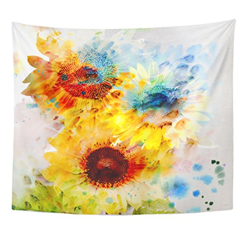 Breezat Tapestry Red Abstract Watercolor Painting Expressive Sunflowers Pink Color Home Decor Wall Hanging for Living Room Bedroom Dorm 50x60 Inches