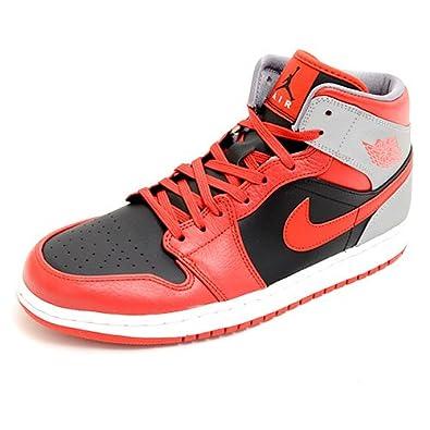 db855556e00 NIKE AIR JORDAN 1 MID Baskets Homme 554724-603 -44.5-10.5 Rouge   Amazon.co.uk  Shoes   Bags