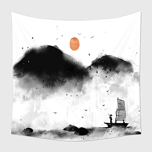 Home Decor Tapestry Wall Hanging A Guy Sailing On A Boat In Bad Weather 169990448 for Bedroom Living Room (Halloween Weather Nashville)
