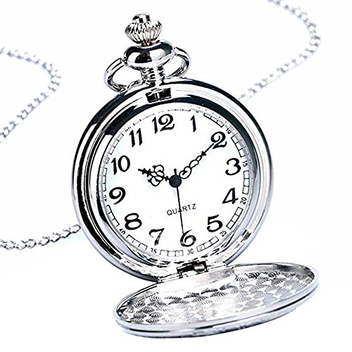 Powshop Vintage Stainless Quartz Pocket Watch with 14.8'' Chain Classic Sculptured Fob Pocket Watch - Watch Pocket Crown