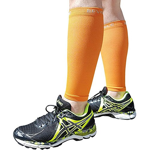 BeVisible Sports Shin Splints Compression Calf Sleeve Leg Compression Socks for Men & Women - Great For Running, Cycling, Air Travel, Support, Circulation & Recovery - 1 Pair (Orange, Small-Medium) (Air Orange Hose)