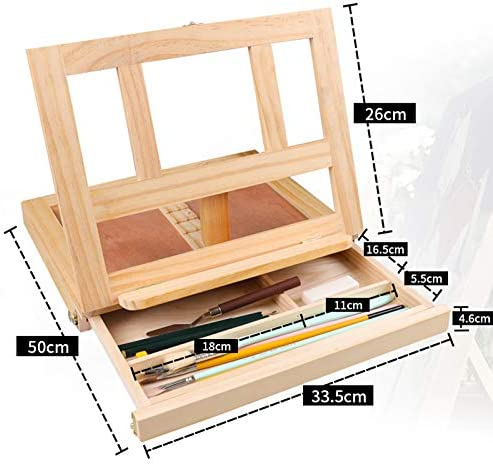 cherrypop Desktop Wood Table Easels for Painting Artist Kids Drawer Box Portable Desktop Laptop Accessories Suitcase Paint Hardware Art Supplies