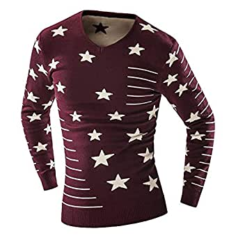 Wine Round Neck Pullover Top For Men
