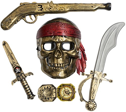 [Skeleton Pirate Buccaneer 5 Piece Costume Accessory Kit] (Jack The Neverland Pirate Costumes)