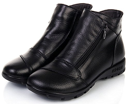 Botines Botas Alineado Invierno Otoño Anti Deslizante Botas Calentar Trabajo Zapatos Lazada de Nieve Cuero de Caliente Mujer Negro2 DAFENP x8pqYX8