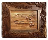 Koa Wood Handcrafted 5''x7'' Picture Frame, HAWAII Hibiscus Flower Design