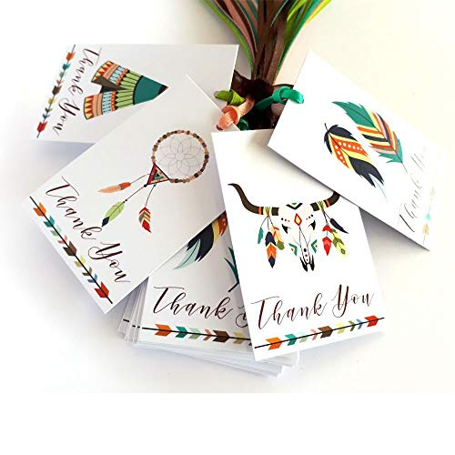 Tribal Boho Thank You Favor Tags - Wedding Bridal Baby Shower Birthday Tribe Party Gifts - Set of 24