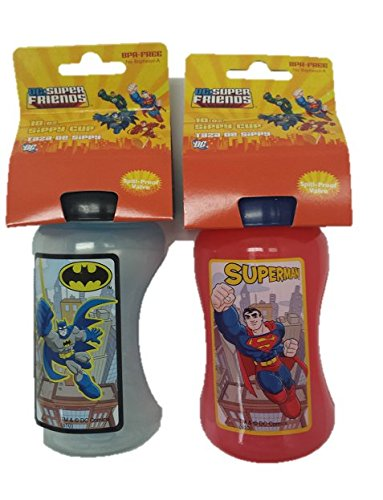 Sippy Cups for Toddlers: Spill Proof Superman and Batman 10oz Sippy Cup by 3KB Kid's   B00WH4XY46