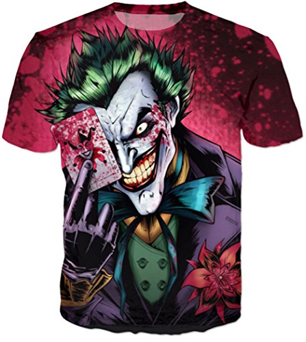 Chiclook Cool Funny Comics Character Joker with Poker 3d Tees Top Outfit T-Shirt -