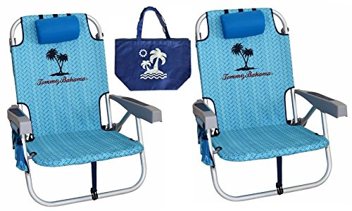 2 Tommy Bahama Backpack Beach Chairs/ Light Blue + 1 Medium