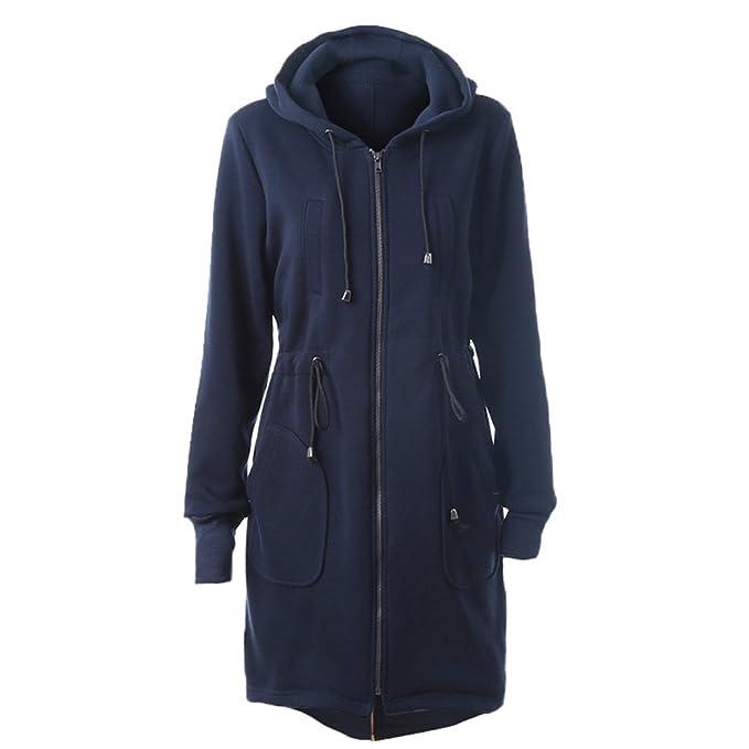 Yying Abrigo Largo Sweatshirt Capa - Chaqueta Larga Otoño Invierno Outfit Cremallera Outerwear Capucha Negro Azul Café Caqui Gris S-2XL: Amazon.es: Ropa y ...
