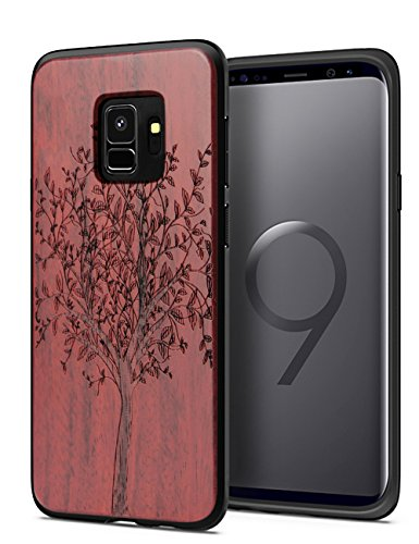 (Galaxy S9 Case Wood, Natural Real Wood Engraving Tree & Hard PC Cushion Case Shock Absorption Anti-Scratch Thin Bumper Cover Compatible with Samsung Galaxy S9)