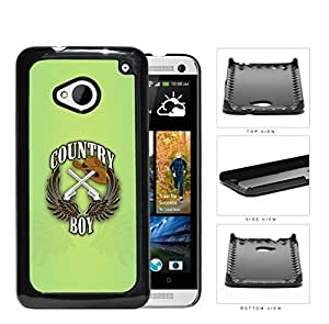 Country Boy Sign with Guns Cowboy Hat and Brown Wings with Green HTC one M7 Hard Snap on Plastic Cell Phone Case Cover by icecream design