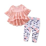 Baby Girls Outfit Set Pink Half Sleeve Ruffle Irregular Hem Blouse Top and Floral Pants Clothes 2PCS (6-12 Months, A)