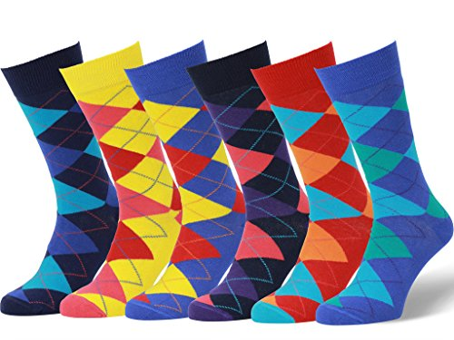 Easton Marlowe Mens - 6 PACK - Colorful Patterned Dress socks - 6pk #9, argyle socks - bright, 43-46 EU shoe size