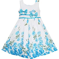 EY73 Sunny Fashion Big Girls' Dress Blue Flower Double Bow Tie Party Summer Camp 7-8