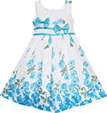 Sunny-Fashion-Girls-Dress-Rose-Flower-Double-Bow-Tie-Party-Sundress