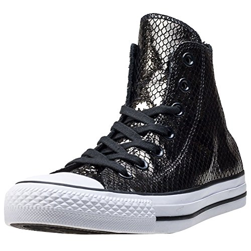 Converse Chuck Taylor All Star Metallic Snake Hi Fashion Sneaker Shoe - Black/Black/Black - Womens - 9