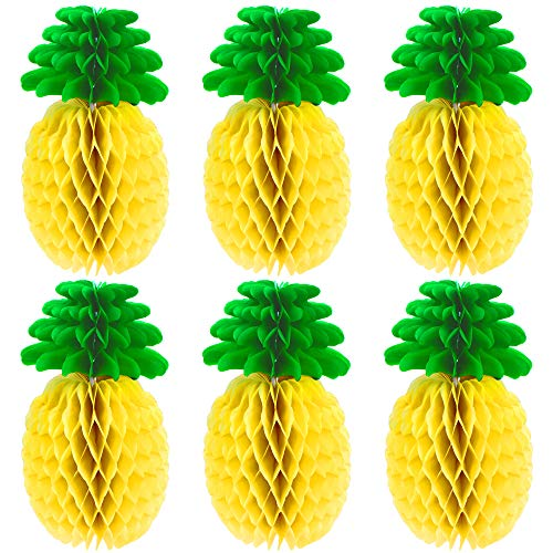 MeiMeiDa 10 Packs 14 Inch Pineapple Honeycomb Centerpieces, Tissue Paper Pineapple Table Hanging Decoration for Hawaiian Luau Party Supplies Favors Hawaiian Theme Wedding Home Decor