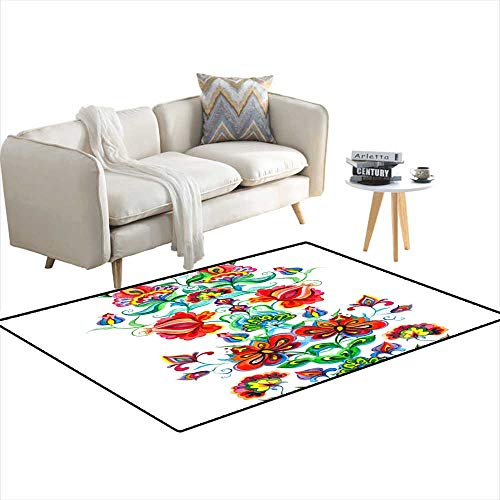 (Kids Carpet Playmat Rug Whimsical Folk Art Ornament - Seamless Floral Border wi Fairy Flowers Watercolor line 3'x17')