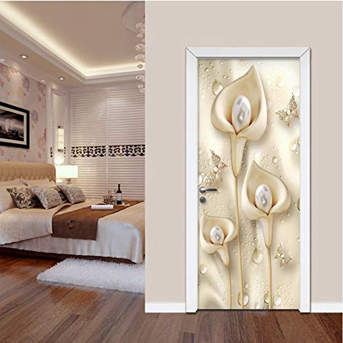 - European Style 3D Stereo Flowers Calla Pearl Door Sticker Living Room Bedroom Luxury Home Decor Wall Stickers PVC Wallpaper 3 D 77x200cm