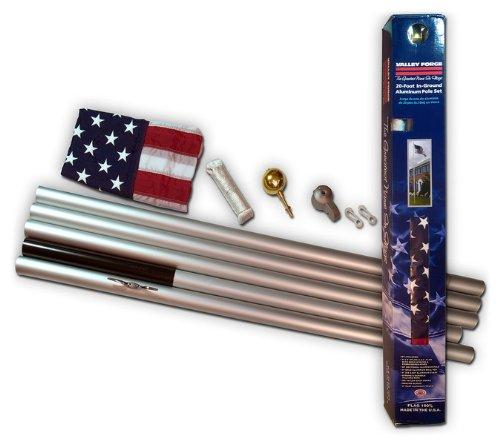 20' U.S. Flag W/ Aluminum In-Ground Pole Kit - 20' Us Flag W