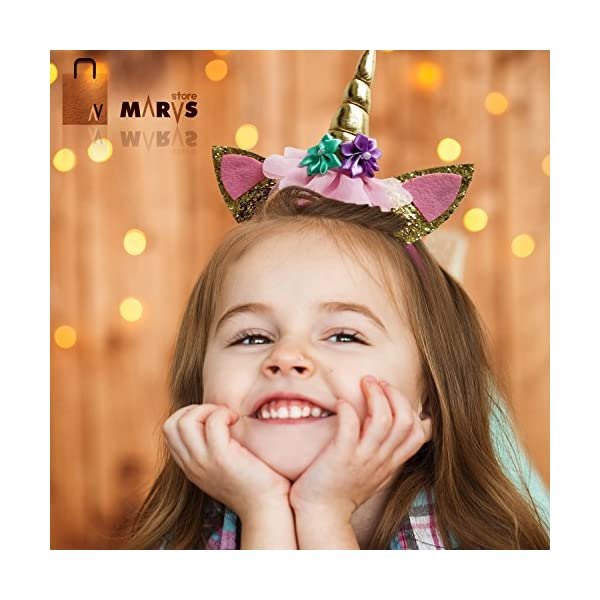 Marvs Store Unicorn Birthday Girl Set of Gold Glitter Unicorn Headband and Pink Satin Sash for Girls with eBook included… 6