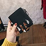 Cuekondy Small Wallets for Women, Slim Pocket Wallet Mini Coin Zipper Purse Leather Card Case Embroidery Printed Card Wallet