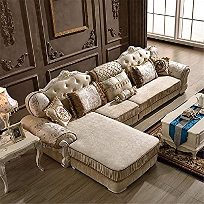 Fabric Sofa, Living Room Corner Sofa Set Fabric 3 Seater ...