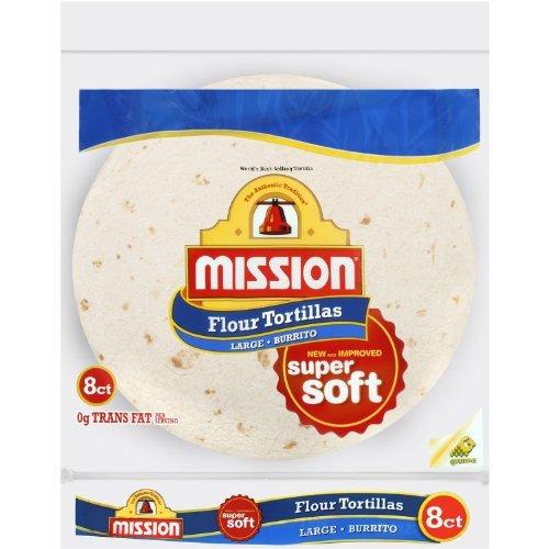 Mission, Flour Tortilla, Burrito, Large Size, 8 Count, 20oz Bag (Pack of 6)