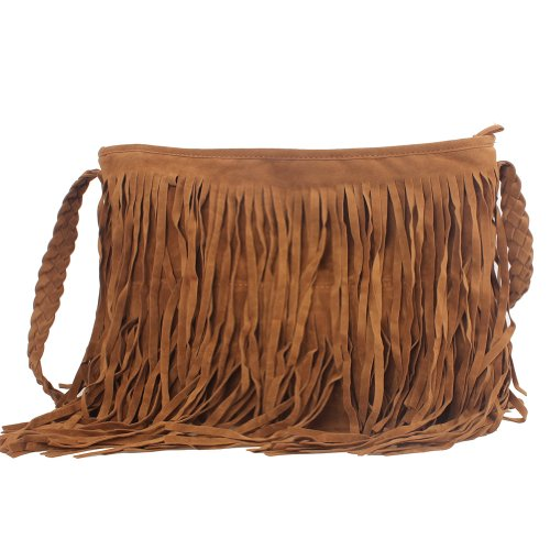 Shoulder Messenger Cross Fancasen Fringe Women Handbag Tassel Brown Suede Celebrity Tote Lady Body Faux p6p8q0x