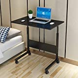 SSLine Rolling Sofa Side Snack Table Portable Laptop Computer Desk Stand with Wheels, Height Adjustable Mobile TV Breakfast Tray Bedside Slim Coffee Table, Wood Desktop with Metal Frame