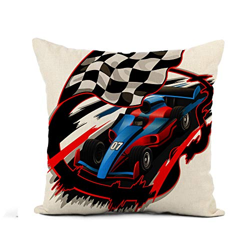 Awowee Flax Throw Pillow Cover Blue Speeding F1 Racing Car Checkered Flag Racetrack Red 20x20 Inches Pillowcase Home Decor Square Cotton Linen Pillow Case Cushion Cover ()