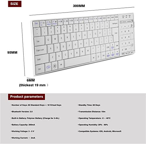 Topiky Teclado con Panel táctil, Teclado inalámbrico Universal con Bluetooth Teclado numérico 2 en 1 Tecla numérica y función de Mouse para Tableta, ...