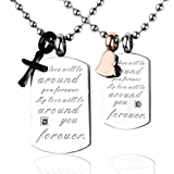 Zysta Matching Set Stainless Steel Couples Love Forever Tags Pendant Necklace Cross Heart Charms Oath Promise Gift