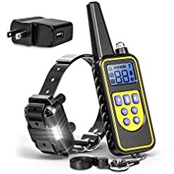 F Color Dog Training Collar Rechargeable Waterproof Dog Shock Collar For Dogs With Remote 2600ftwith Beep Vibrating Shock Led Light 4 Modes For Small Medium Large Dogs Black