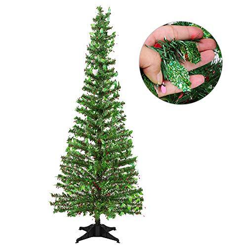 Joy-Leo 5 Foot Shiny Holly Leaves Green Christmas Tree with Reflective Sequins, Collapsible & Reusable Green Tinsel Christmas Tree for Christmas Decoration with Plastic Stand