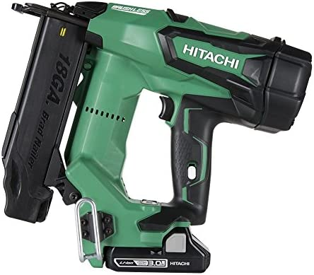 Hitachi NT1850DE 18V Cordless Brad Nailer, Brushless Motor, 18 Gauge, 5 8 to 2 Nails, Compact 3.0 Ah Lithium Ion Battery, Zero Ramp-Up Time, Lifetime Tool Warranty