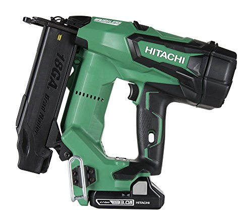 Hitachi NT1850DE 18V Cordless Brad Nailer, Brushless Motor, 18 Gauge, 5 8 to 2 Nails, Compact 3.0 Ah Lithium Ion Battery, Zero Ramp-Up Time, Lifetime Tool Warranty