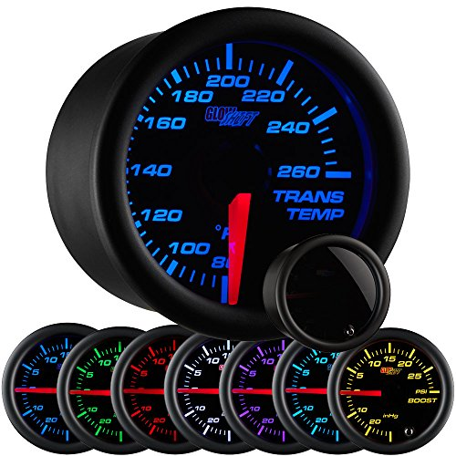 Temperature Temp Gauge - GlowShift Tinted 7 Color 260 F Transmission Temperature Gauge Kit - Includes Electronic Sensor - Black Dial - Smoked Lens - For Car & Truck - 2-1/16