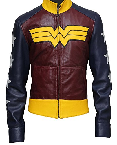 Decrum Wonder Woman Comic Leather Jacket - 3XL